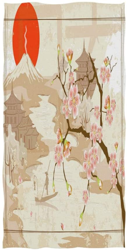 ALAZA Japanese Mountain Fuji Cherry Blossom Sun Soft Bath Hotel Spa Hand Gym Sport Towel 30 x 15 Inches