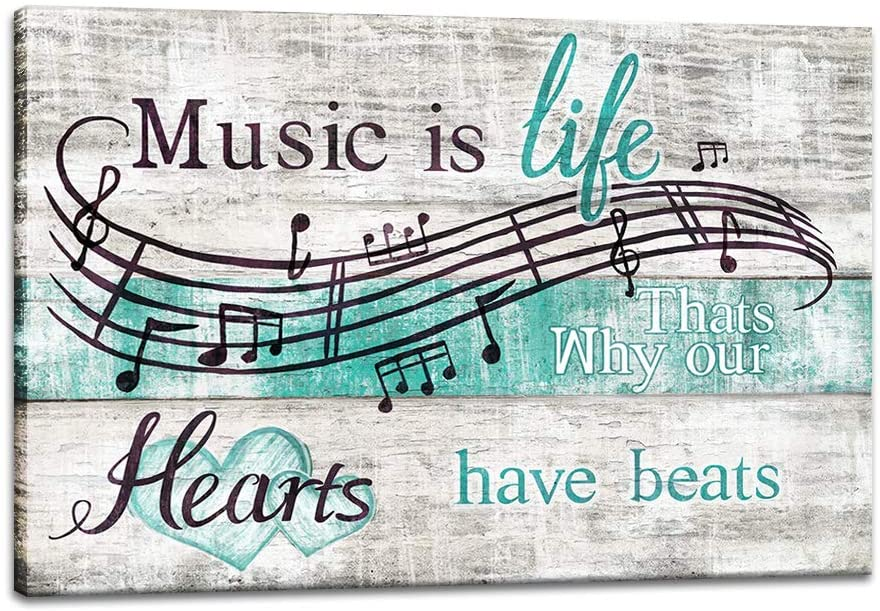 sechars Music Quotes Wall Art Vintage Music Notes Posters Painting Success Motivational Canvas Prints for Classroom Home Office Pub Bedroom Decor Framed Ready to Hang 24x36