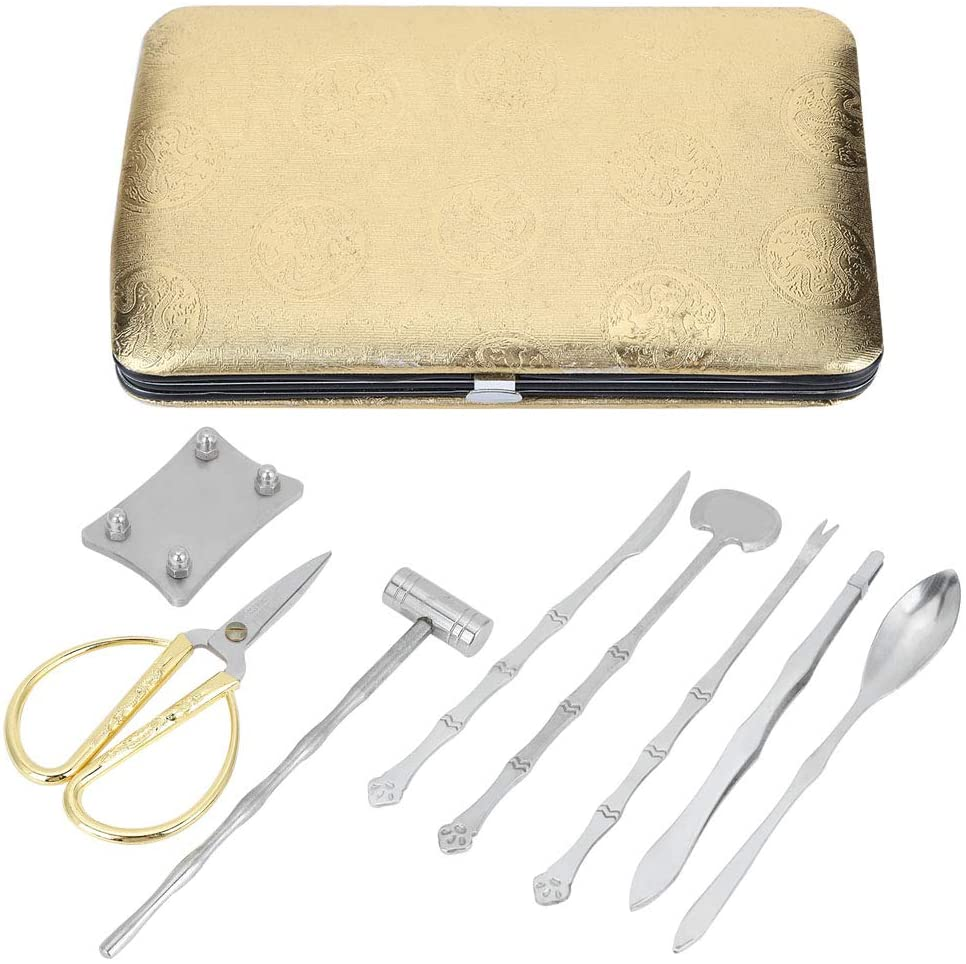 Crab Tools, Durable Easy to Clean Stainless Steel Cracker Set, Seafood Scissors for Home(Golden dragon pattern)