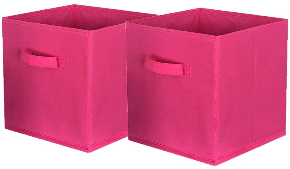 ShellKingdom Storage Bins, Foldable Fabric Storage Cubes and Cloth Storage Organizer Drawer for Closet and Toys Storage,2 Pack(Fuchsia)