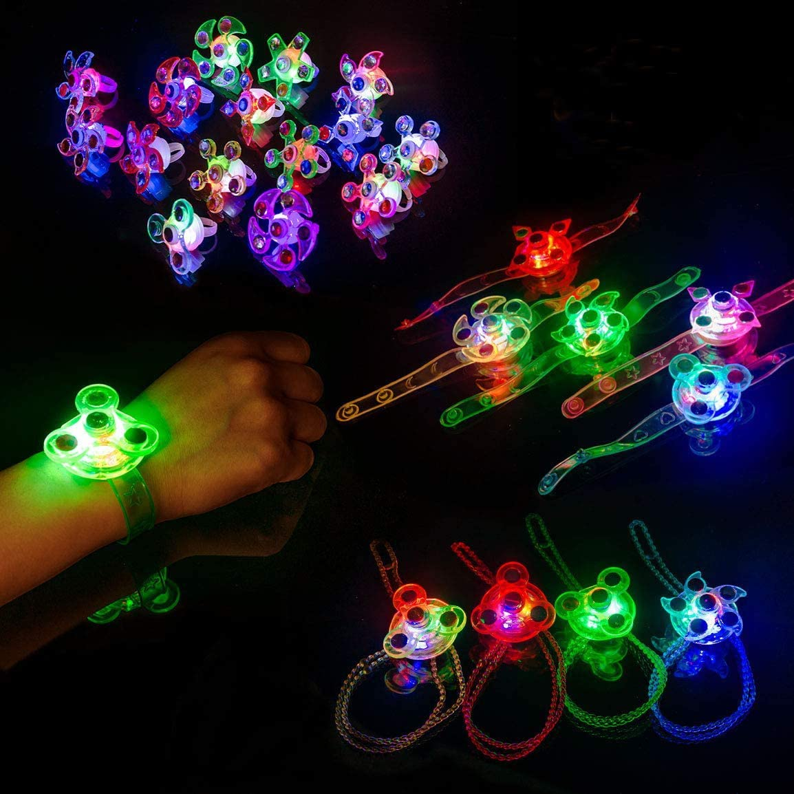 Subao Children LED Rings Light Up Party Supplies Toys Set for Kids