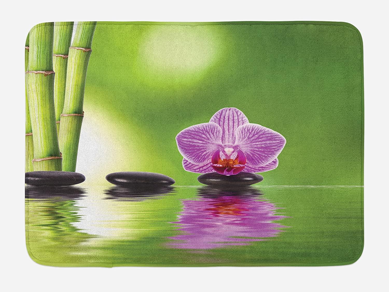 Lunarable Spa Bath Mat, Spa Floral Summertime Theme Holidays Exotic Positiveness Lilac Bouquet Corsage, Plush Bathroom Decor Mat with Non Slip Backing, 29.5