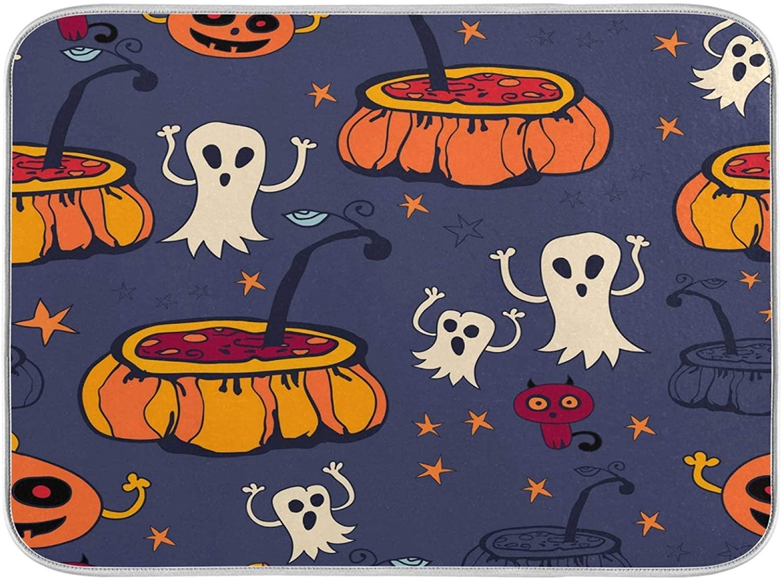 Dish Drying Mat,Absorbent Reversible Halloween Pumpkin Ghost Heat Resistant Eco-Friendly Mat for Kitchen