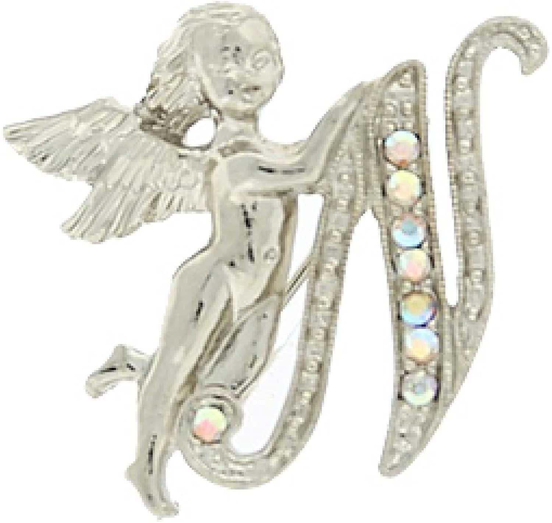 1928 Jewelry Silver-Tone Guardian Angel Script Initial
