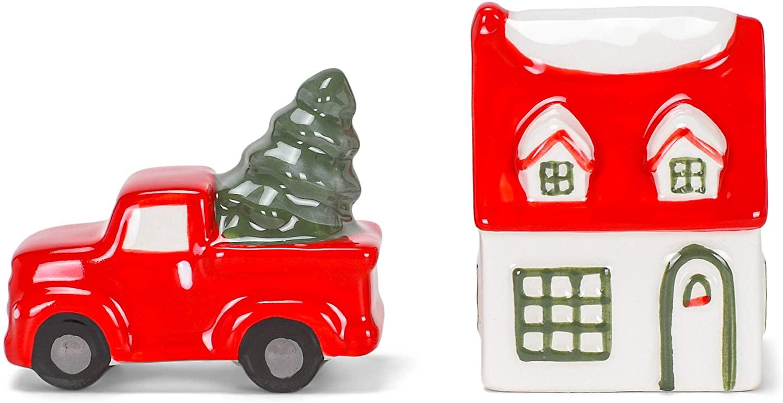 Rosy Red Vintage Truck House 2 x 2 Ceramic Decorative Tabletop Salt and Pepper Shaker Set