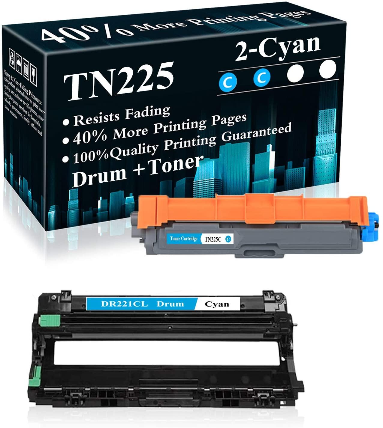 2 Pack (1Drum+1CK) DR221CL Drum Unit TN225C Toner Cartridge Replacement for Brother HL-3140CW 3150CDN 3170CDW 3180CDW 9130CW 9140CDN 9330CDW 9340CDW 9015CDW 9020CDN Printer