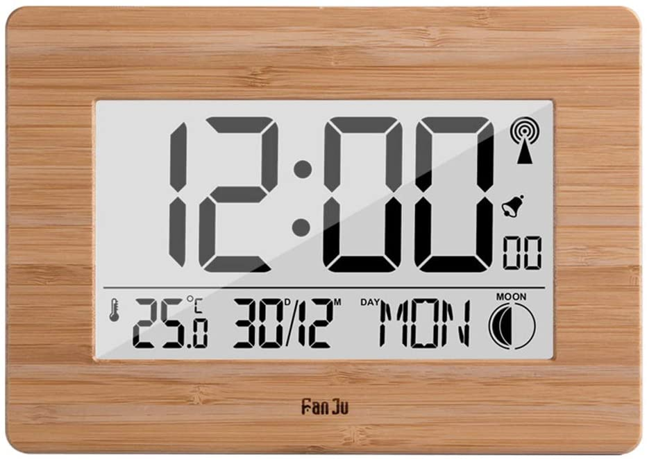 Digital Wall Alarm Clock LCD Display Large Number Time Temperature Calendar Desktop Clock Modern Design Home Decor