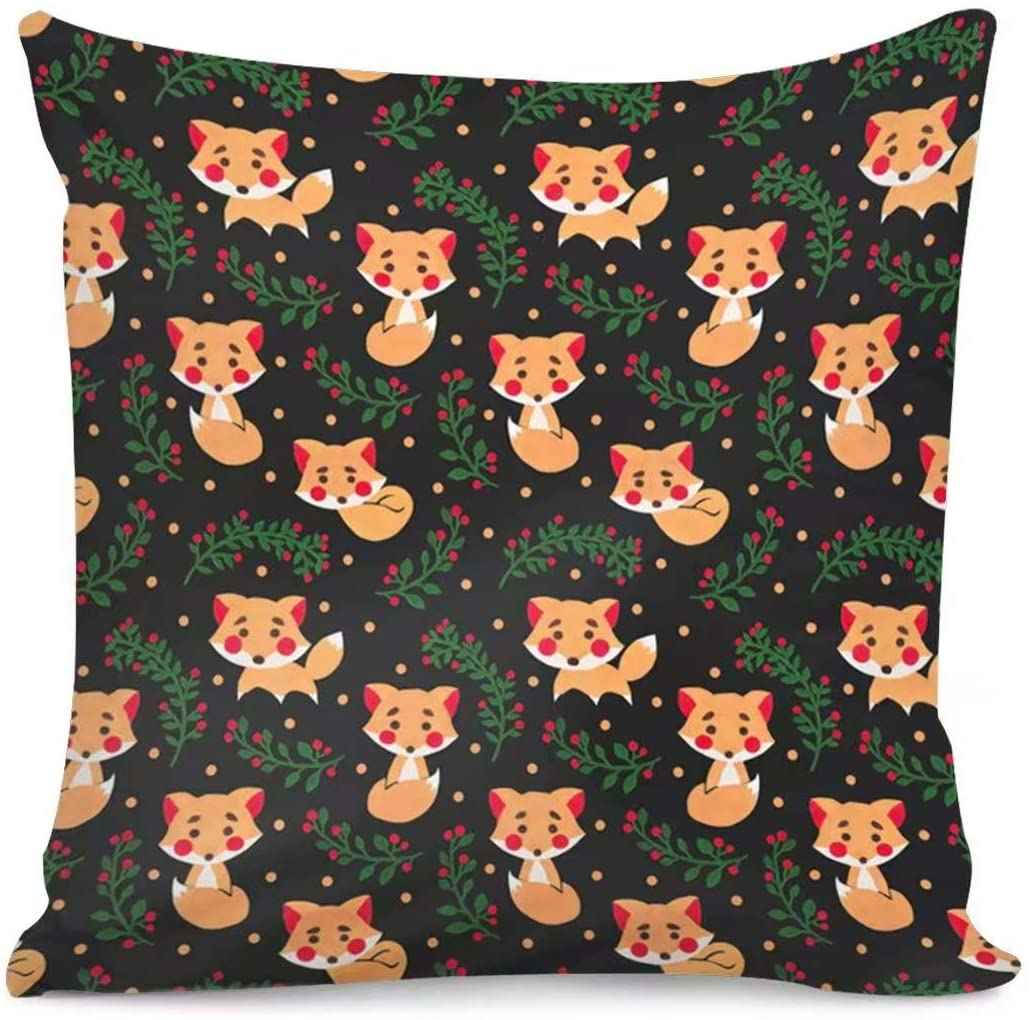 Allcute Throw Pillow Cover Fox Home Décor Custom Patterns Soft Decorative Square Throw Pillow Cover Cushion Covers Pillowcase, Home Decor Decorations for Sofa Couch Bed Chair 18x18 Inch