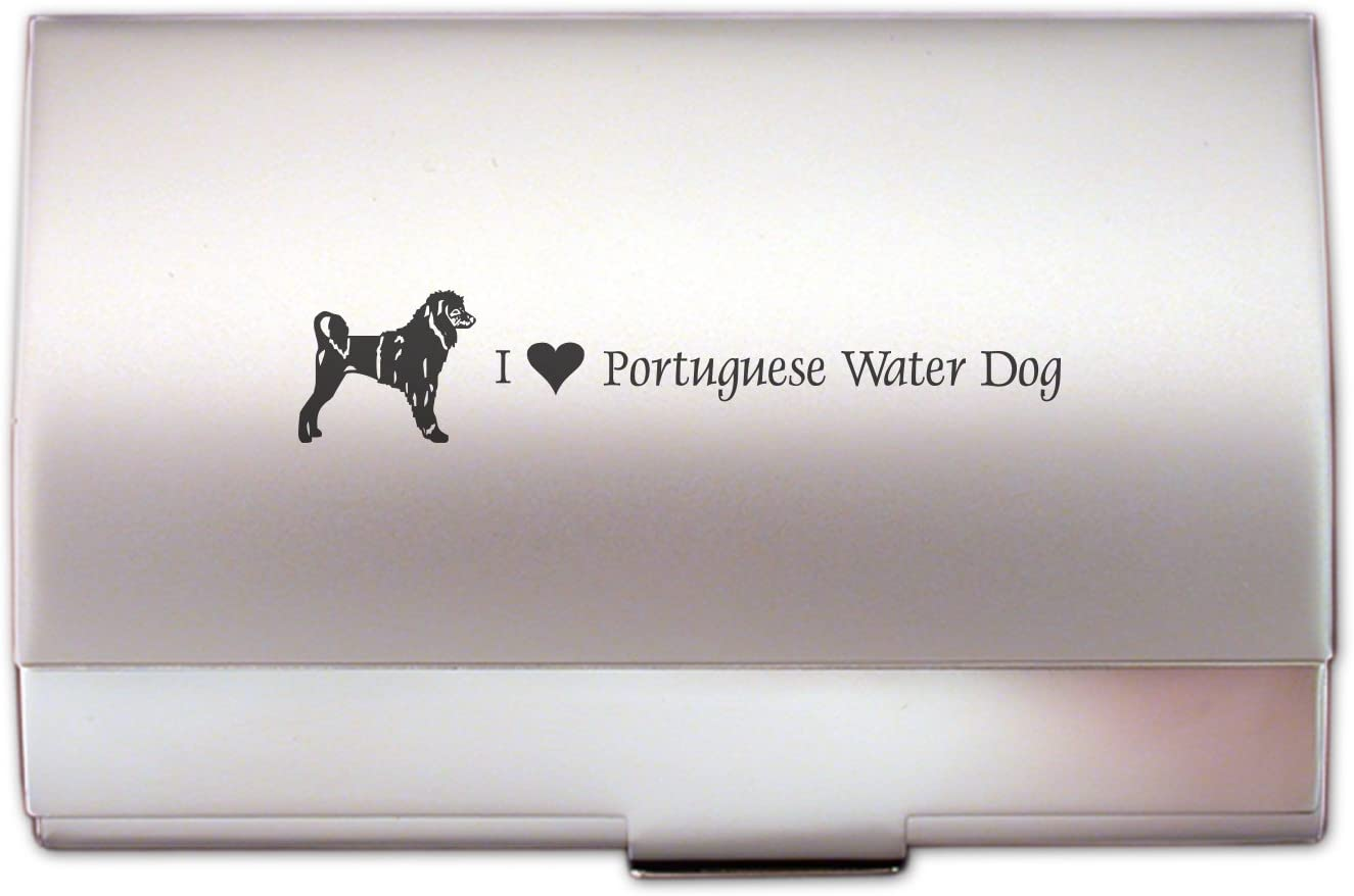 Two-Tone Business Card Holder-I love my Portuguese Water Dog-Silver