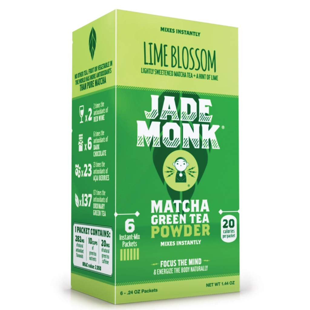 Matcha Green Tea Powder- Enjoy Anytime, Anywhere - All Natural energy - Ceremonial Grade - Mixes Instantly - Lime Blossom, 6 Pack