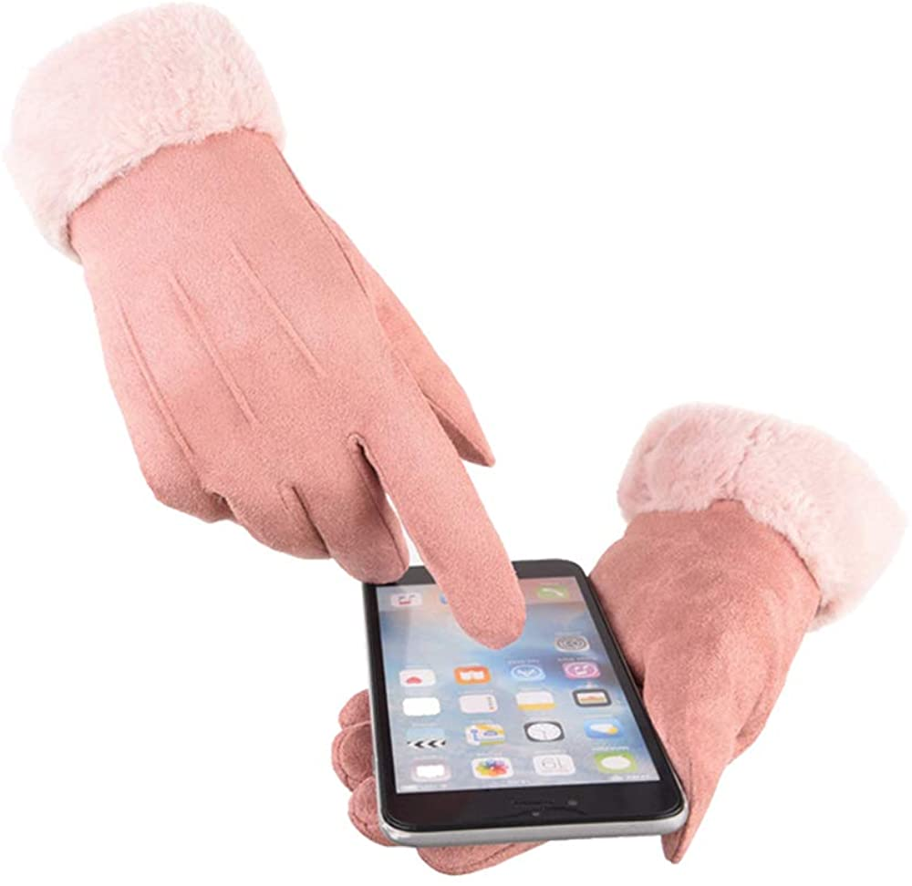 Women's Winter Warm Windproof Texting Butter Soft Suede Driving Gloves with Faux Rabbit Fur and Thick Warm Lining