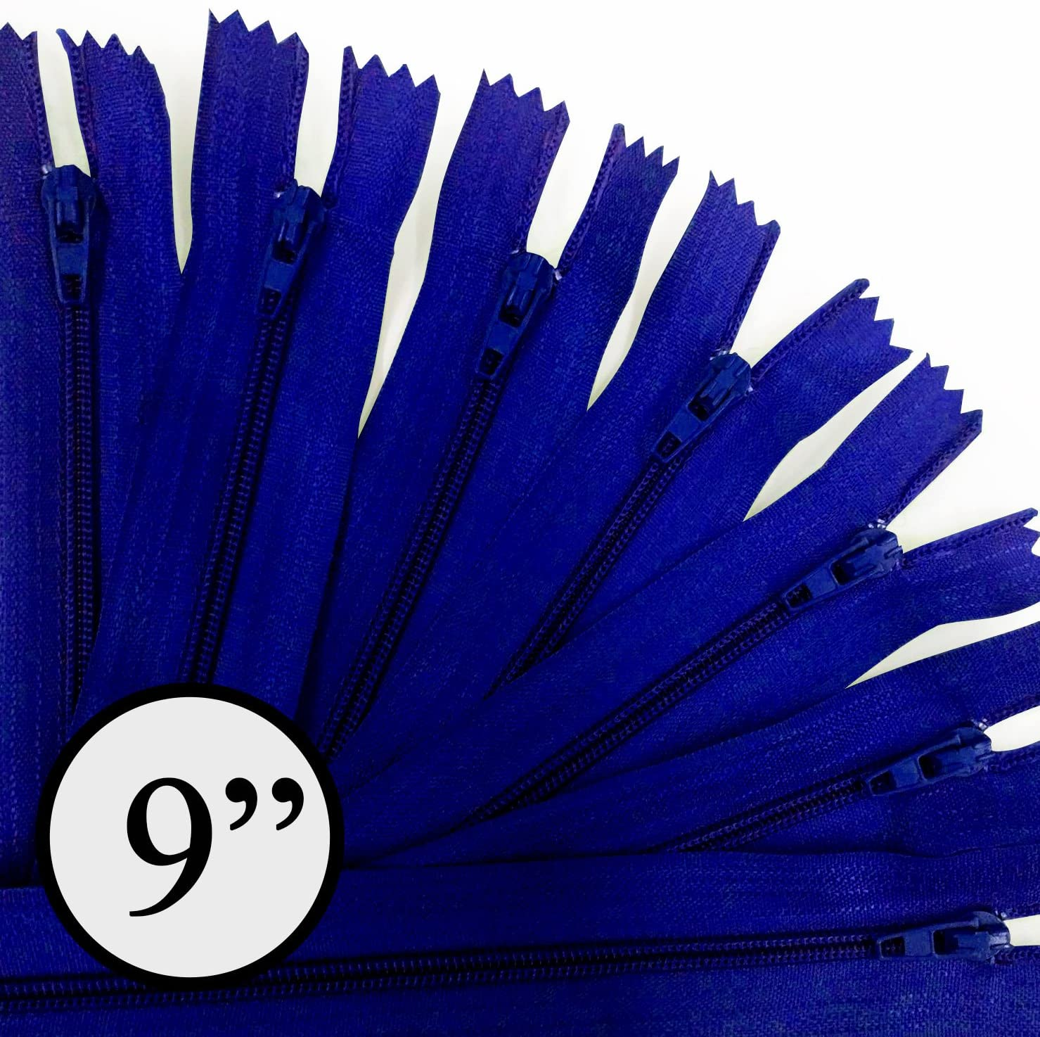 KGS 9 inch Nylon Zipper Zipper | 12 Zipper/Pack (Blue)