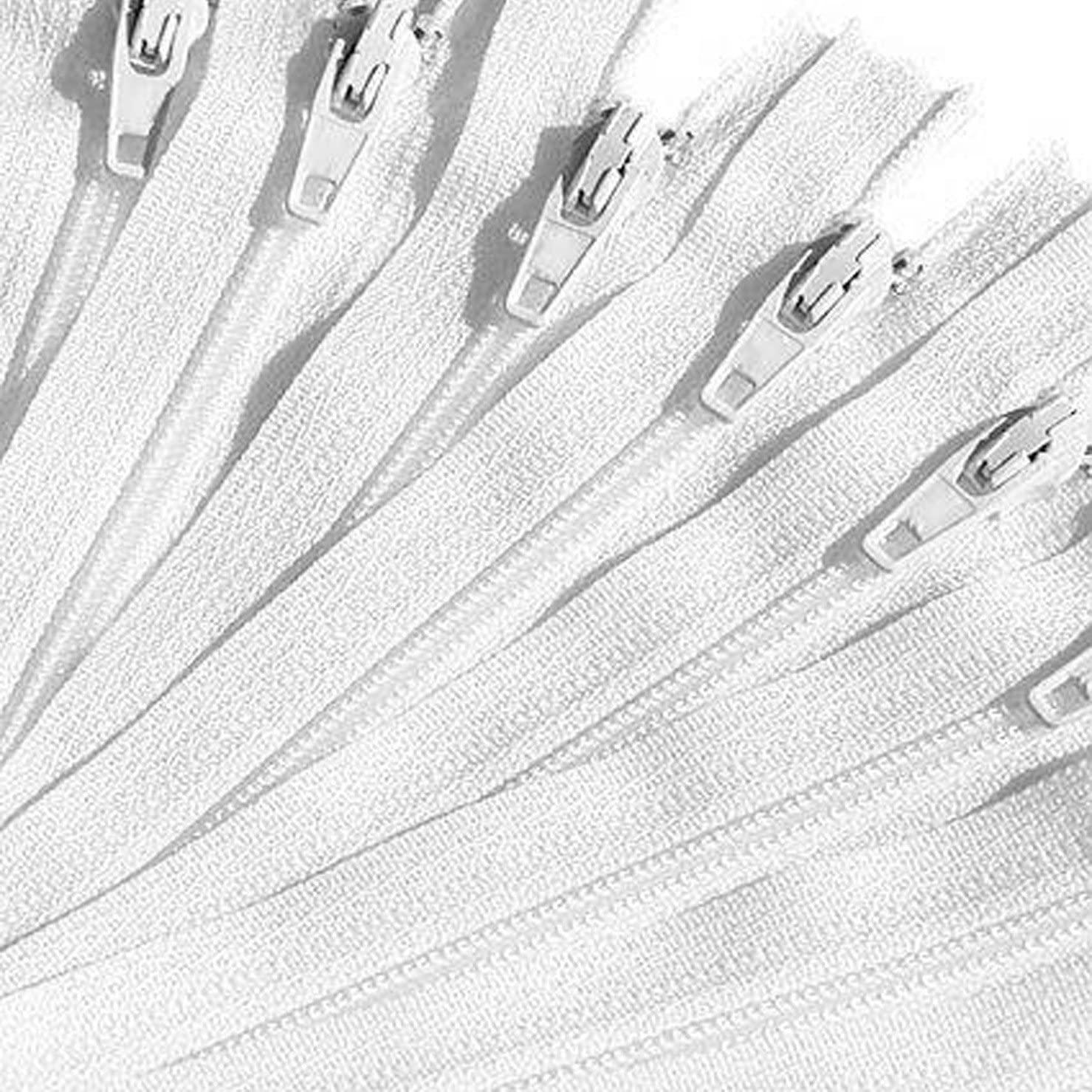 KGS 9 inch Nylon Zipper Zippe | 12 Zippers/Pack (White)