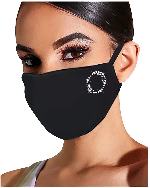 1PC A-Z Bling Face Mask Sequin Diamand Rhinestones Glitter Print Alphabet Theme Design Washable Reusable Mask for Women (O)