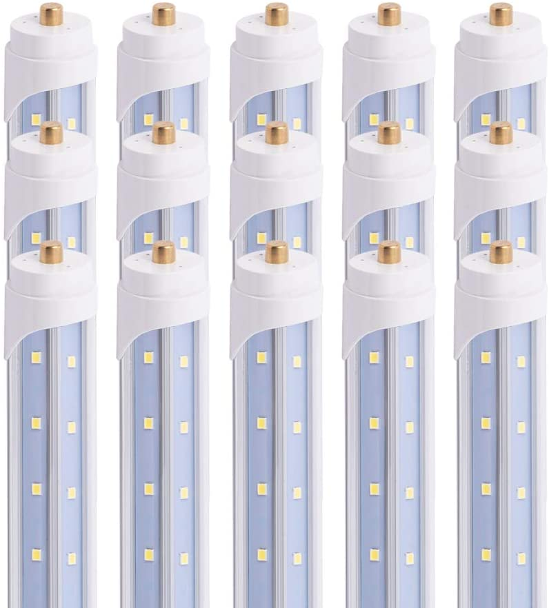 15 Pack T8 4FT 24W LED V Shaped Tube Light Bulbs, 6500K Bright Cool White,Clear Cover,Dual-End Power,FA8 Single Pin Base,Replace 45W Fluorescent Lights,4 Foot Shop Lighting Fixture,Basement,Garage