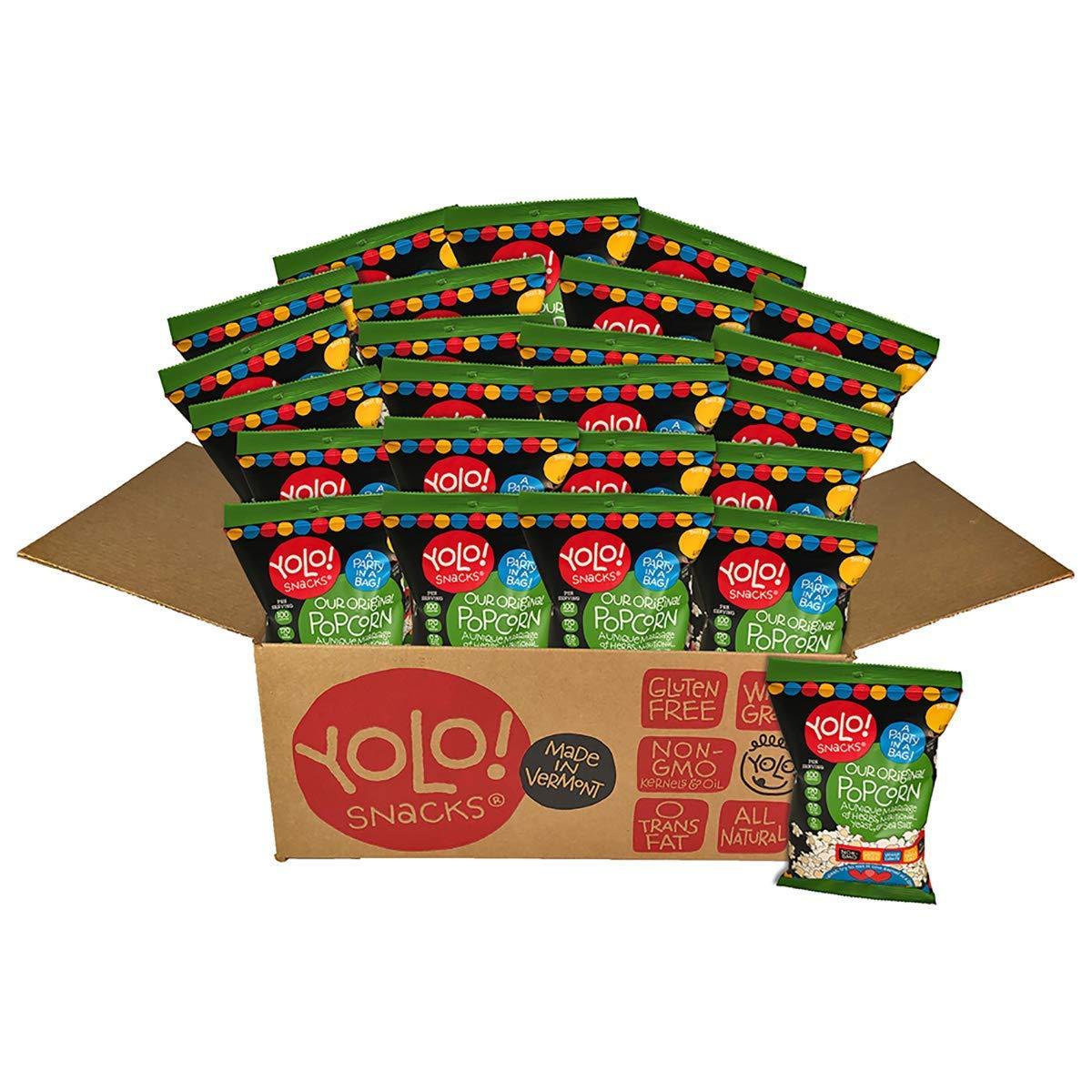 YOLO! Snacks – Gourmet Original Savory Flavor Individual Bag Popped Popcorn - 21 Grams - 24 Count Case