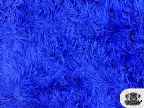 Faux Fur Mongolian Royal Blue 60 Inch Wide Fabric by The Yard (F.E.