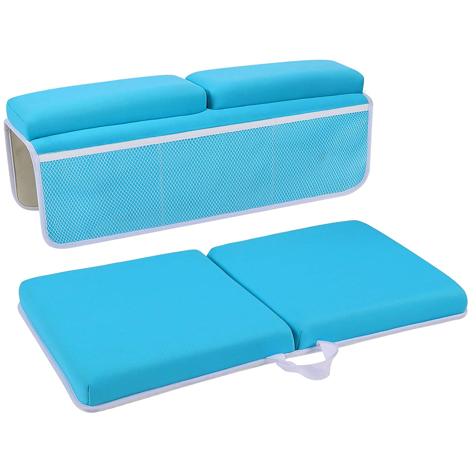 JJGoo Bath Kneeler with Elbow Rest Pad Set, 1.5 inch Thick Kneeling Pad and Elbow Support for Knee & Arm Support, Bathtub Kneeling Mat for Happy Baby Bathing Time(Blue)…