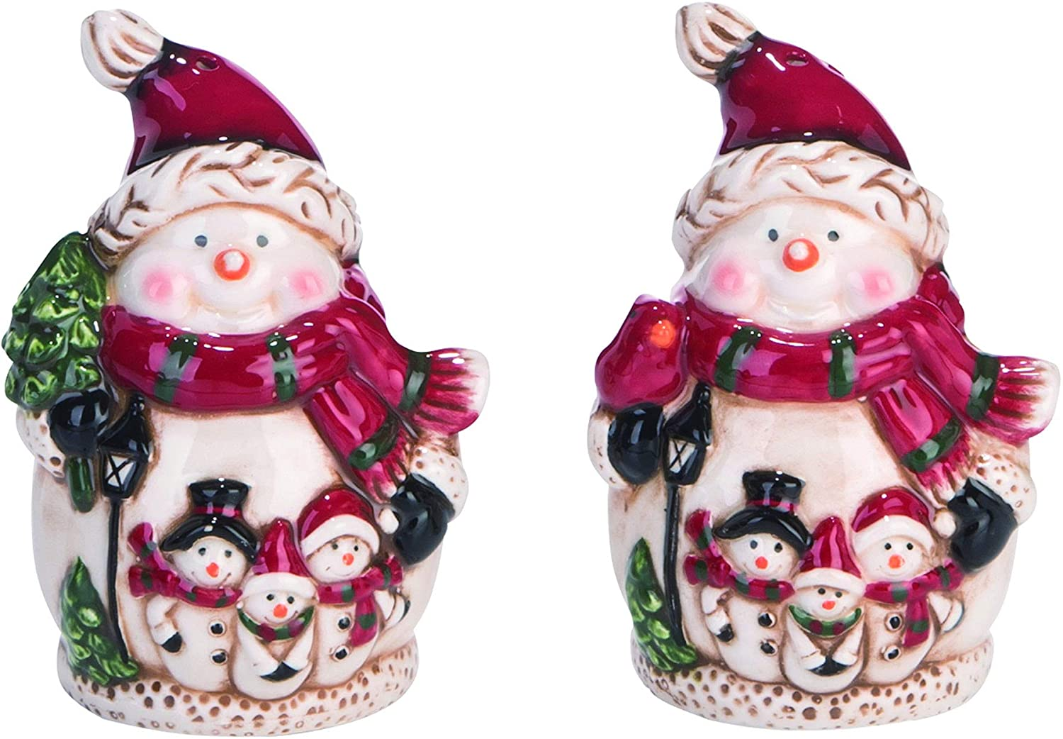 Snowman Glossy White 4 x 3 Dolomite Ceramic Christmas Salt and Pepper Shaker Set