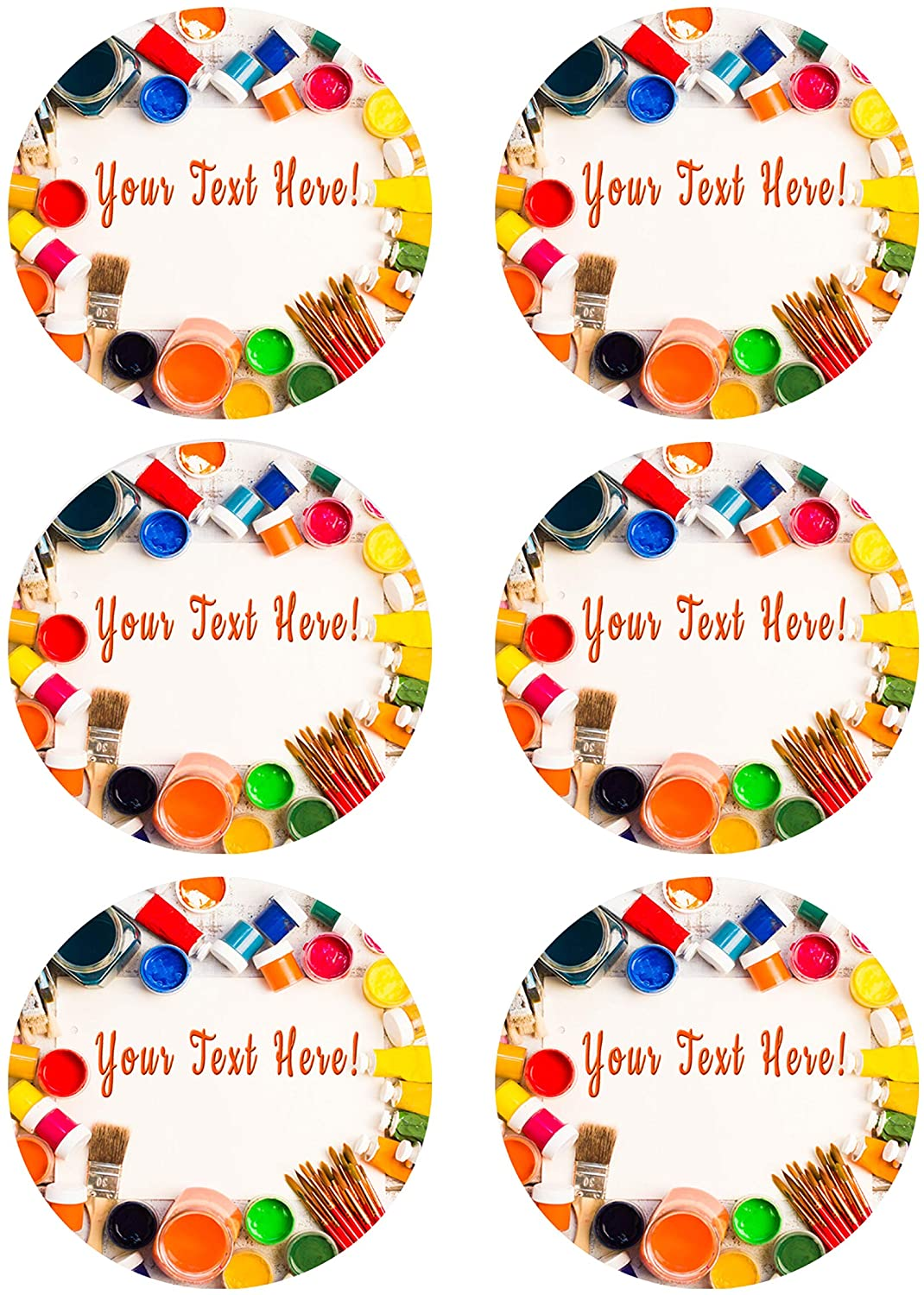 Paints Brushes and Palette - Edible Cupcake Toppers - 3.25