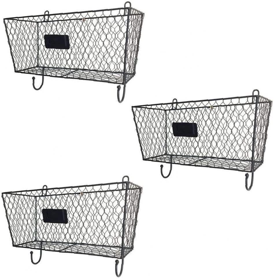 YaphteS Hanging Storage Basket 3Pcs Black Wall Basket Wall Mounted Metal Wire Basket Triple File Holder Magazine Rack