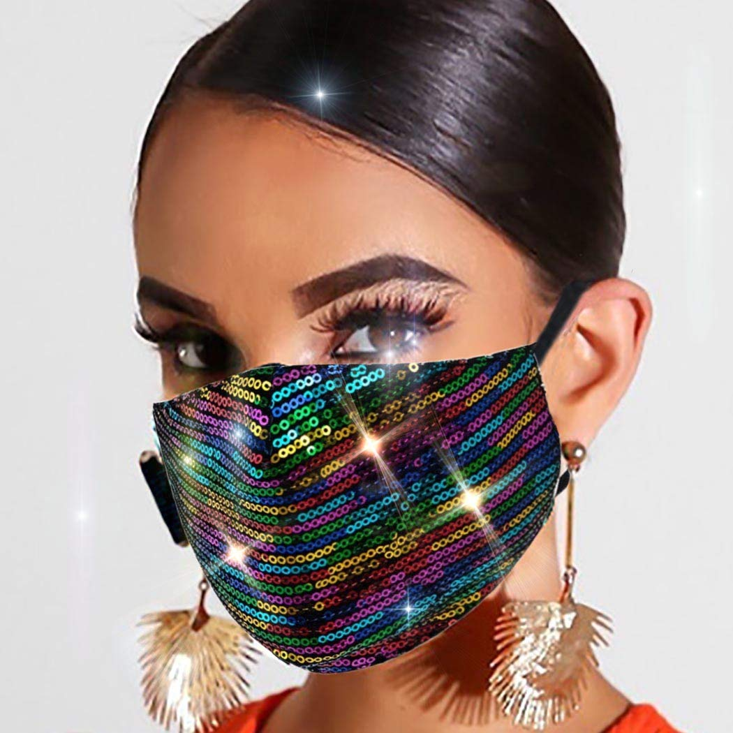 Woeoe Sparkly Sequins Masks Bling Sequin Blue Fashion Mask Mardi Gras Party Nightclub Masks Jewelry for Women and Girls