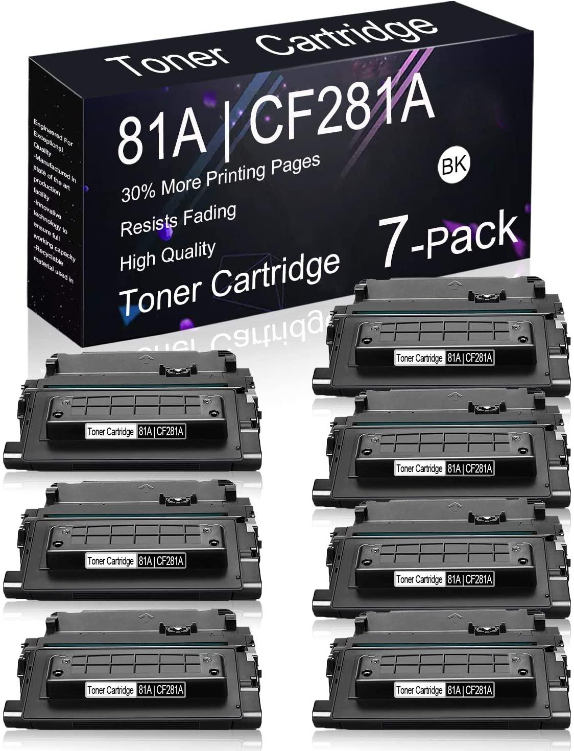 Compatible Toner Cartridge 7 Pack Black 81A | CF281A Replacement for HP Laserjet Enterprise M630h, M606x, M606dn, M605x, M605dn, M604n, M604dn, M630 MFP Series, M606 Series, M605 Series Printers.