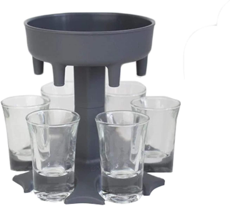 6 Shot Glass Dispenser and Holder Dispenser For Filling Liquids, Shots Dispenser, Multiple 6 Shot Dispenser, Bar Shot Dispenser, Cocktail Dispenser (GY)