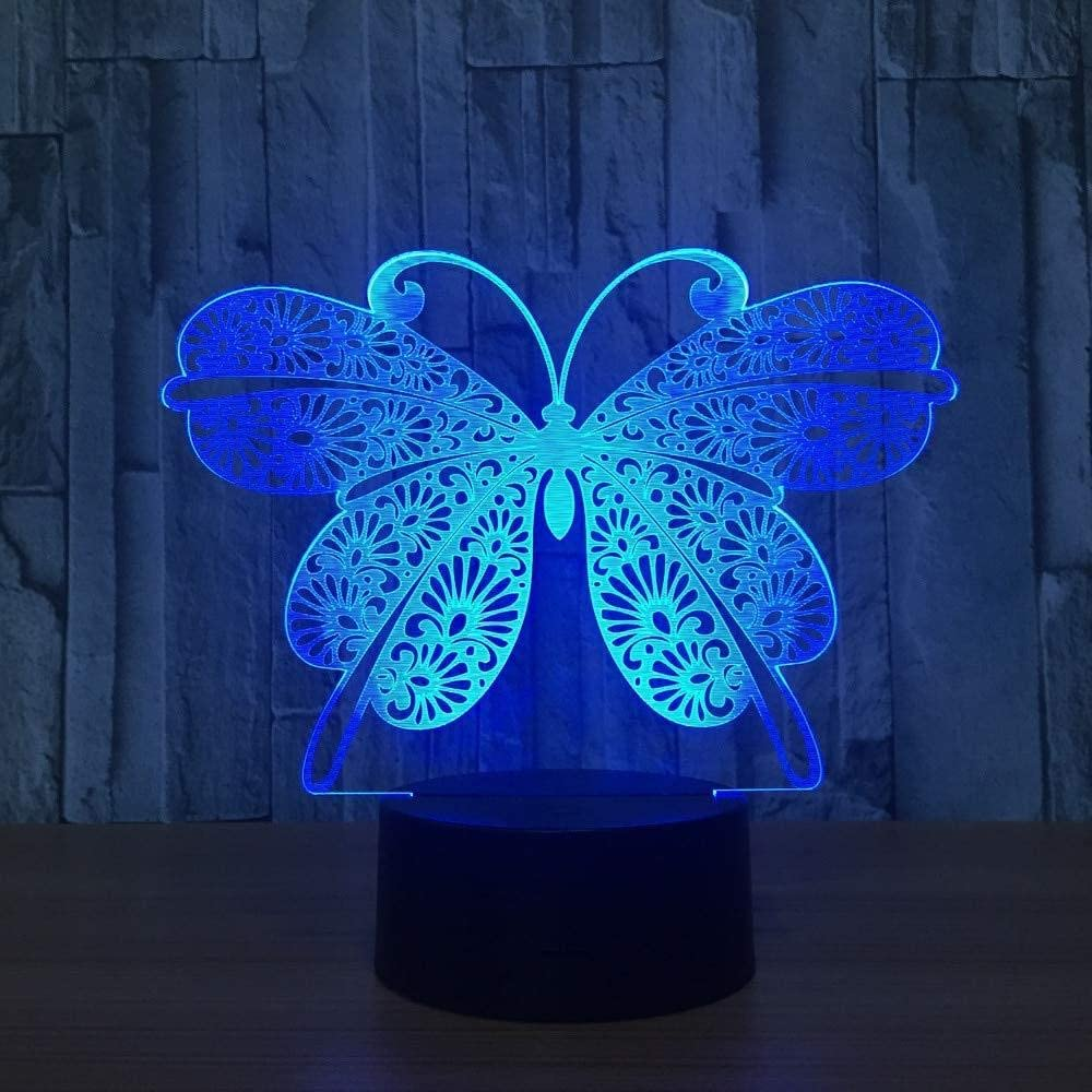 KLJLFJK 3D Night Butterfly Changeable Animal LED Mood lamp 7 Color Illusion Table lamp for Home Decoration with Remote Control Touch Switch