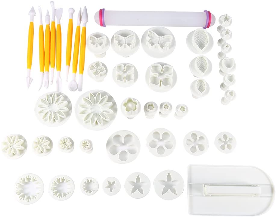 Cake Tools Kit, 46pcs Fondant Cake Decorating Flower Sugarcraft Cutter Tools Cookies Icing Mold