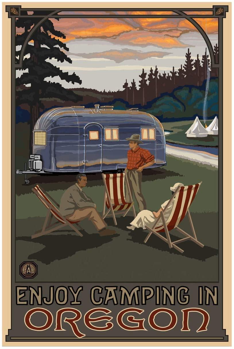 Oregon Airstream Trailer Camping Giclee Art Print Poster from Original Travel Artwork by Artist Paul A. Lanquist 24