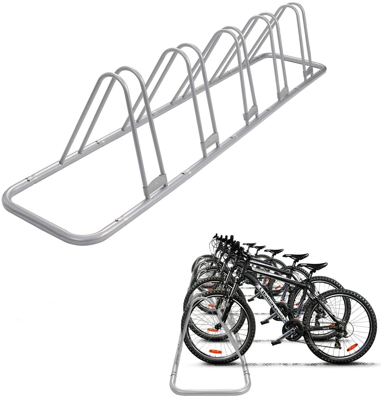 Bicycle Floor Type Parking Rack Stand,For Mountain and Road Bike Indoor Outdoor Nook Bike Garage Storage-5 Bikes