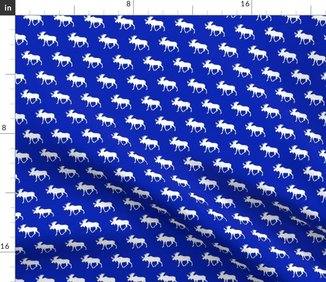 Spoonflower Fabric - Moose Blue Royal Baby Boy Girl Woodland Silhouette Printed on Petal Signature Cotton Fabric by The Yard - Sewing Quilting Apparel Crafts Decor