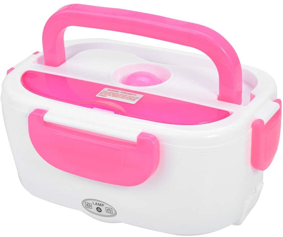 Electric Heating Lunch Box Portable Food Heater Lunch Container Warming Bento Box for Home Office Pink
