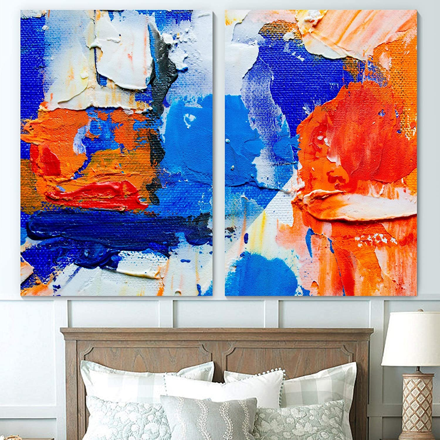 Sign Leader Vibrant Paintstrokes Wall Art Abstract Oil Painting Canvas Prints for Bedroom Living Room Modern Art - 24x36 x 2 Panels