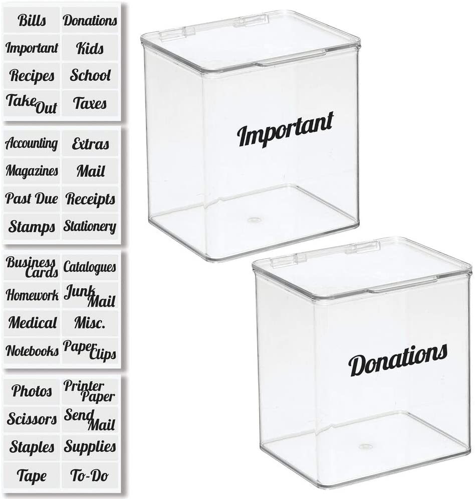 mDesign Plastic Stackable Home, Office Supplies Storage Organizer Box with Hinged Lid - for Note Pads, Gel Pens, Staples, Dry Erase Markers, Tape - 7 Inches Tall, 2 Pack, Includes 32 Labels - Clear