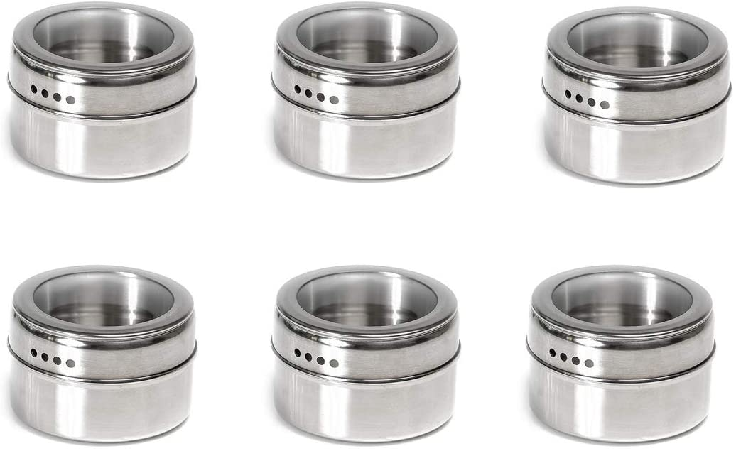 6 Magnetic Spice Tins, Stainless Steel Spice Jar Containers Kitchen Spice Jars with Clear Lid with Sift & Pour for Sprinkle Rust Free Easy to Clean (6Pcs)