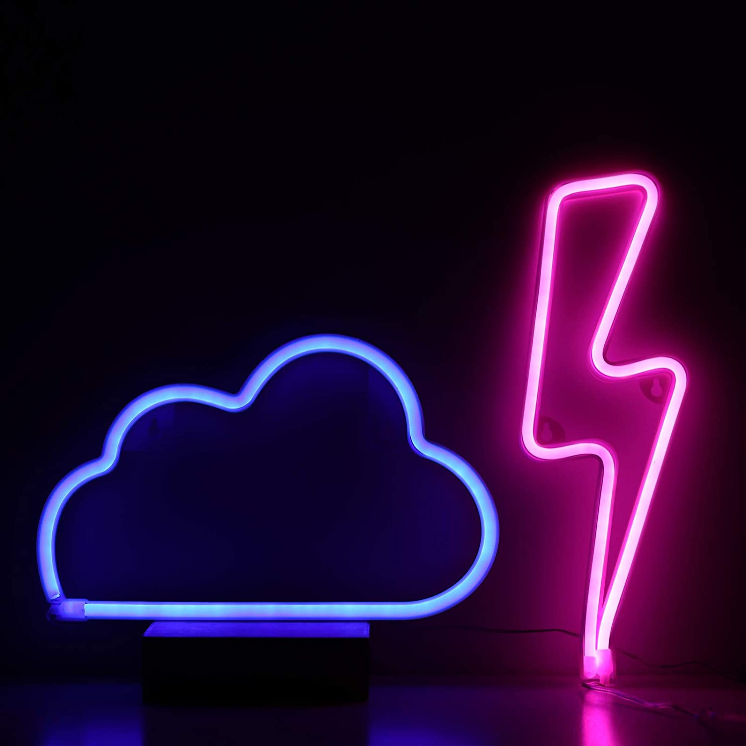 Neon Signs Pink Lightning Bolt+Blue Cloud Light Battery & USB Powered LED Decorative Night Lights Wall Art Decor for Gaming,Man Cave,Kid's Bedroom,Dorm,Bar,Wedding,The Flash Party Decoration(SDF-YDL)