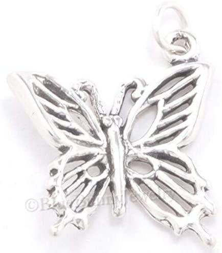 Charm Pendant - Jewelry Making DIY - Bracelet Butterfly Garden Sterling Silver Filigree Pretty .925 925 3D