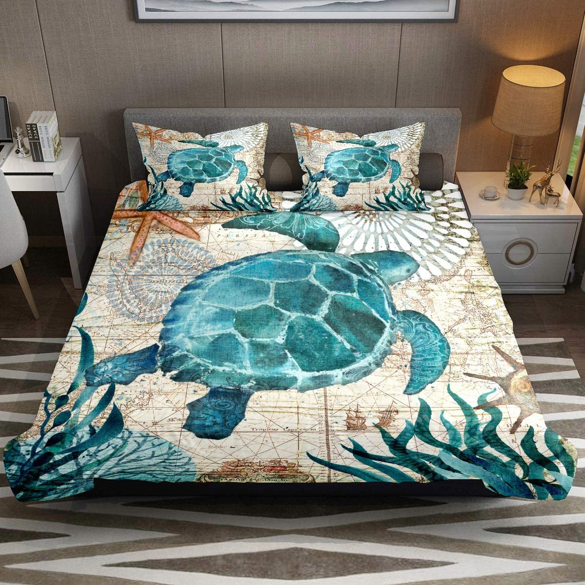 Bedding Duvet Cover King Classic Sea Turtle Comforter Cover Set 3 Piece Ultra Soft bedspreads Sets Hotal Collections Microfiber - 1 Quilt Cover and 2 Pillowcases