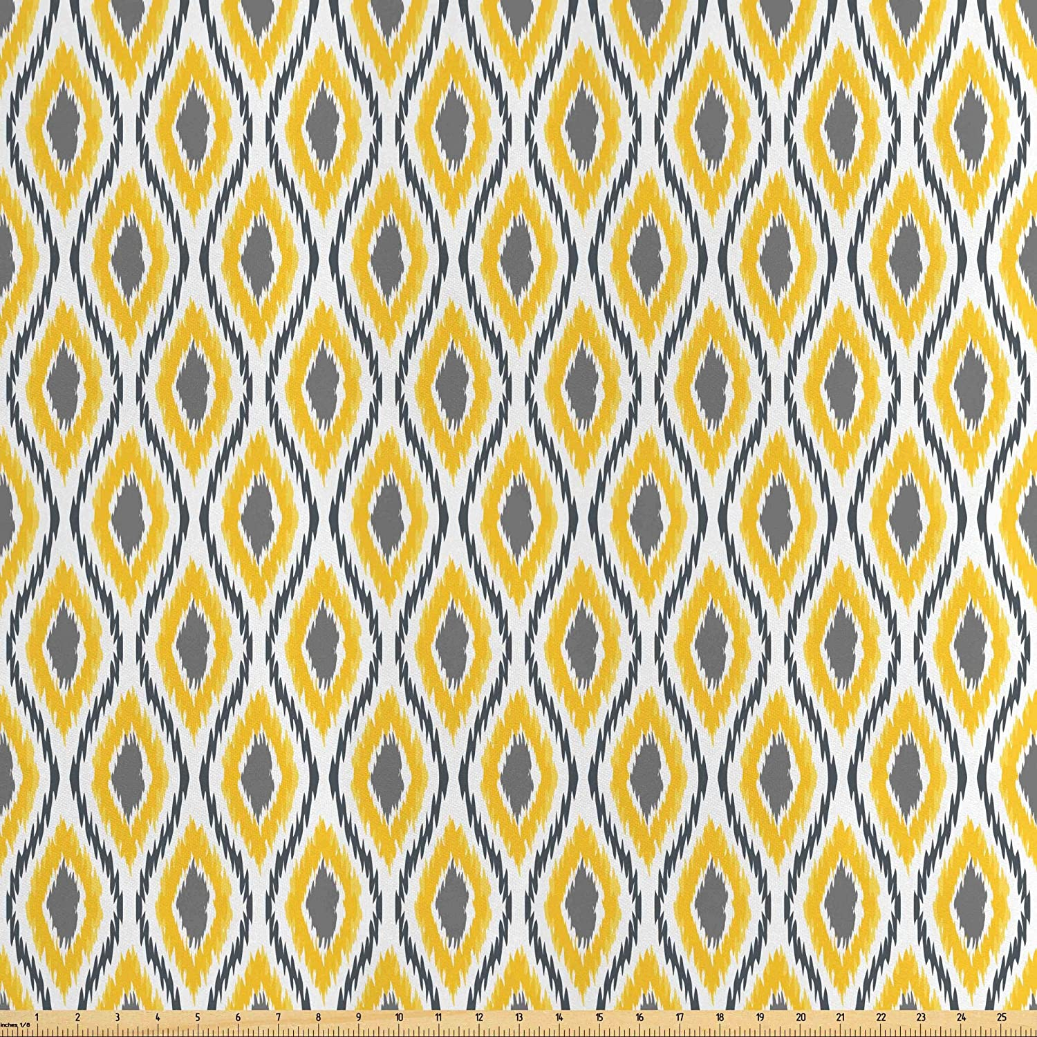 Lunarable Ikat Fabric by The Yard, Oval Double Zigzag Ikat Motifs Exotic Japanese Culture Design, Decorative Satin Fabric for Home Textiles and Crafts, 1 Yard, Grey Yellow White