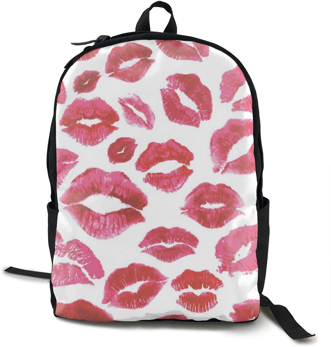 NiYoung Fashion Casual Daypack Large Capacity Anti-Theft Multipurpose Laptop Backpack Travel Business Backpack School College Students Bookbag, Kiss Lips Pattern