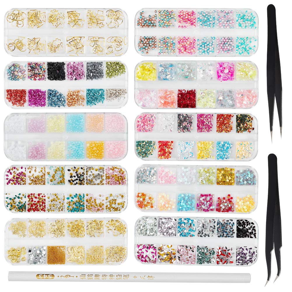 Niceneeded 10 Packs Nail Glitter Sequins Nail Art Rhinestones Shining Crystals 3D Nail Art Sequins Manicure Make Up Diy Decals Decoration For Nail Art Design With 2 Pcs Pick Up Tweezers