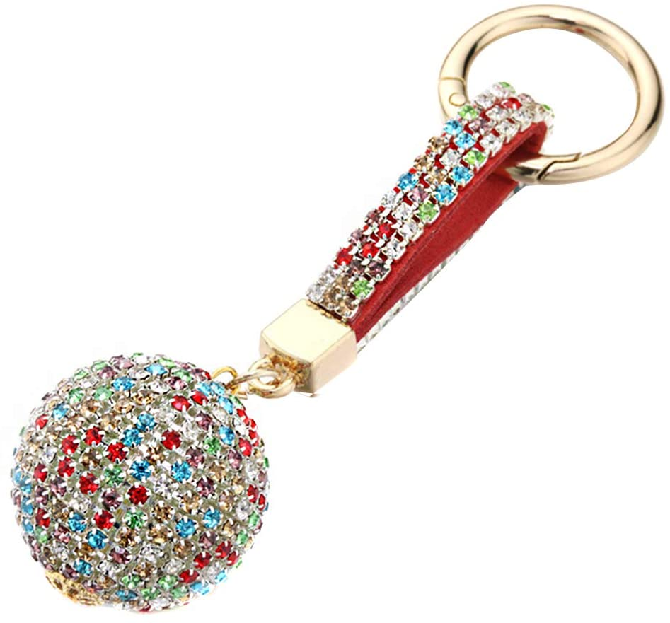 Keychain with Bling Crystal Ball,MoreChioce Bling Rhinestone Keychain Pendant Bling Charms Keychain for Handbag,Car Keychain,Colored