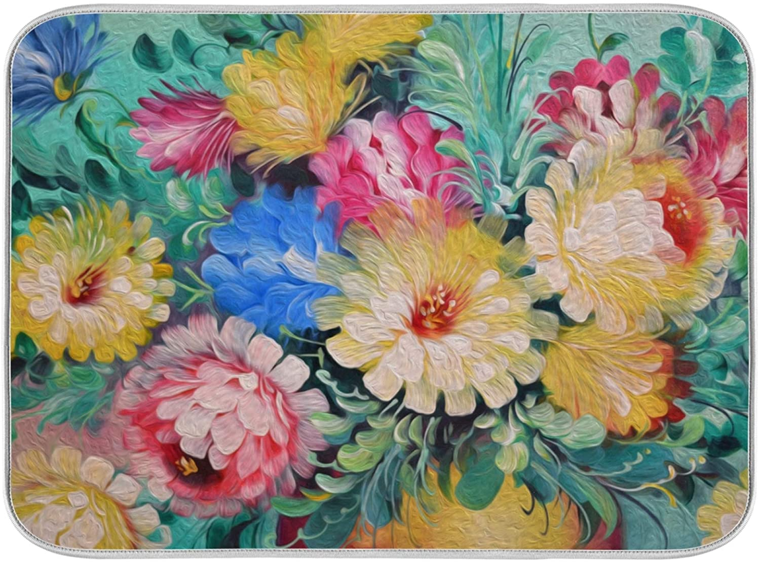 Dish Drying Mat for Kitchen Oil Painting Vintage Flower Absorbent Heat Resistant Dishes Drainer Pad 18 x 24 Inch