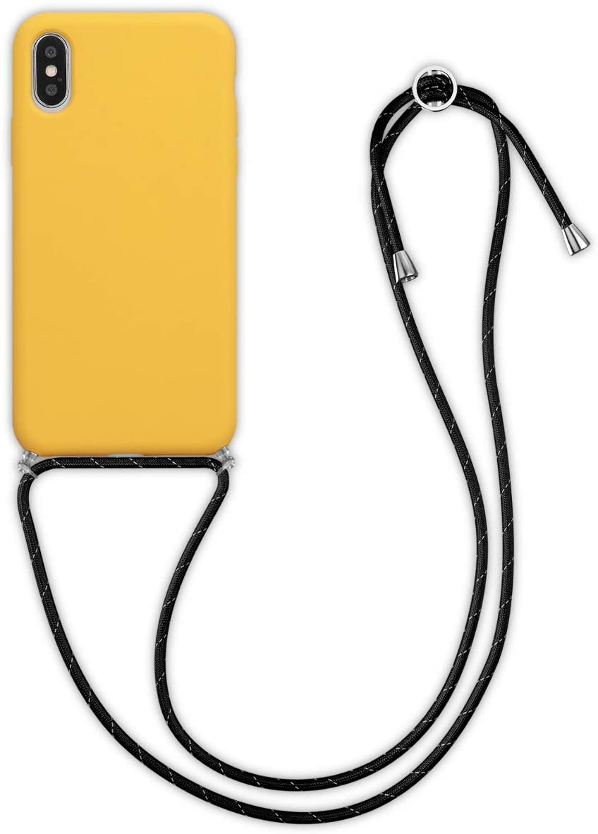 kwmobile Crossbody Case Compatible with Apple iPhone X - TPU with Silicone Coating Cover with Neck Cord Lanyard Strap - Honey Yellow