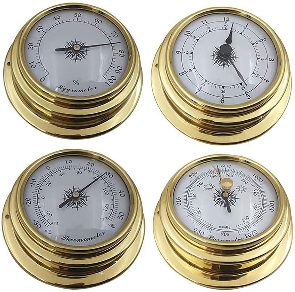 Siunwdiy Weather Station Barometer,Clock Set, 4Pcs Thermometer Hygrometer Kit, Wall Mounted, with Brass Casing Plastic Bottom Case,Brass,4pcs