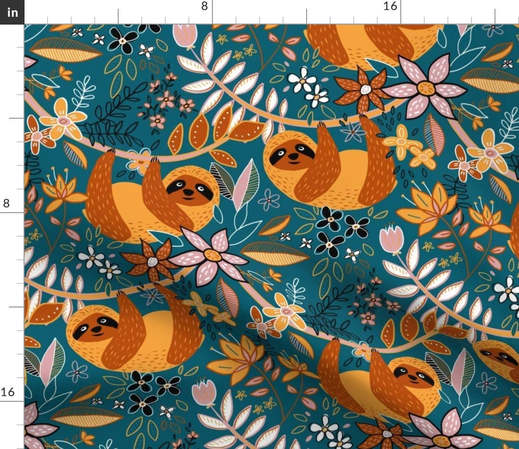 Spoonflower Fabric - Cute Boho Sloth Floral Sloths Cartoon Illustration Jungle Printed on Petal Signature Cotton Fabric by The Yard - Sewing Quilting Apparel Crafts Decor