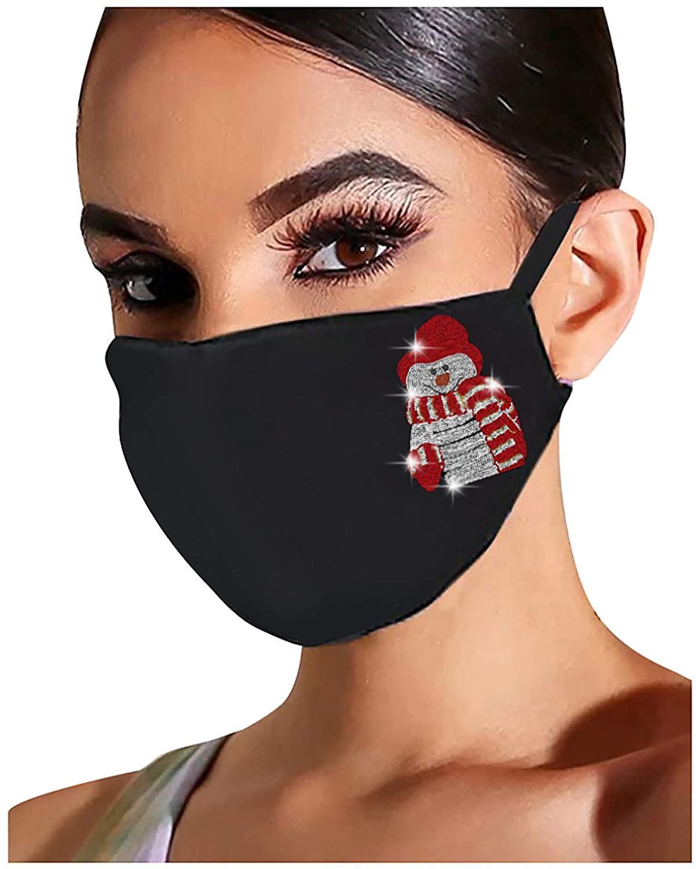 Christmas Face_mask for Adult Reusable Washable Flash Diamond Rhinestone Breathable Fashion Cotton Face Balaclavas