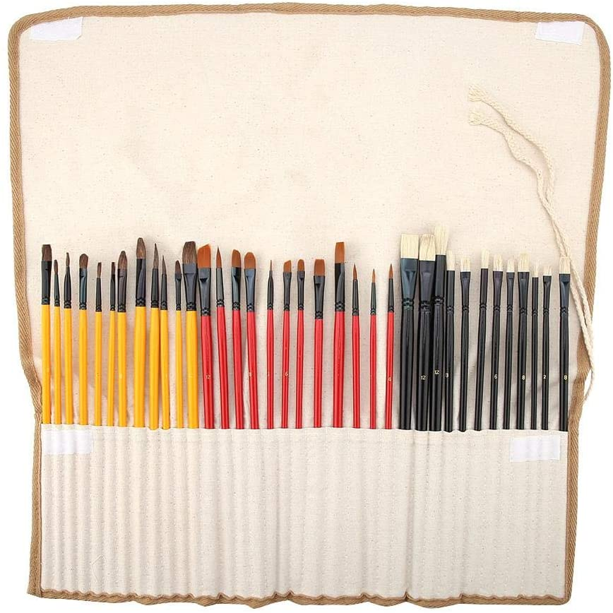 Painting Brush, Aluminium Alloy Tube Wood Handle Brush Gouache Brush Watercolor Oil Painting Tool Set for Adults and Students Painting Tool